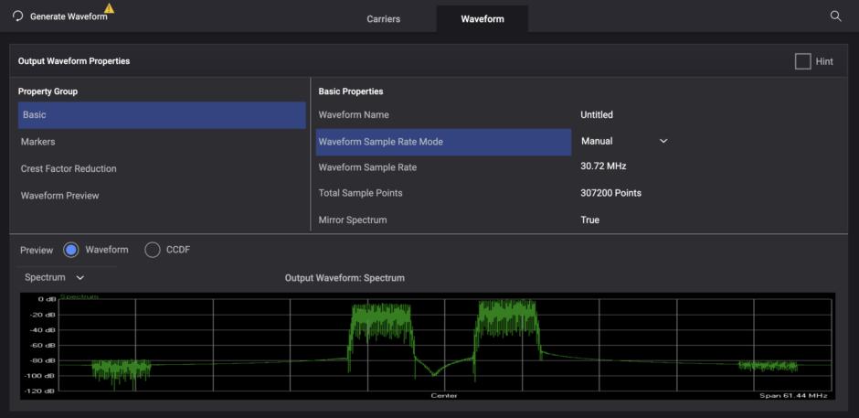 Sample Screenshot of Keysight Signal Studio